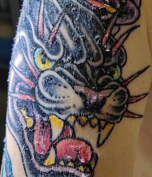 Un tatouage après 7 jours, aspect de la peau